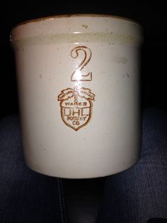 UHL 2 gallon crock with rare brown stamp.