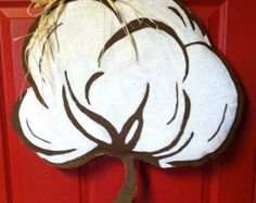 Wooden Cotton Boll Door Hanger by ASouthernCreation on Etsy