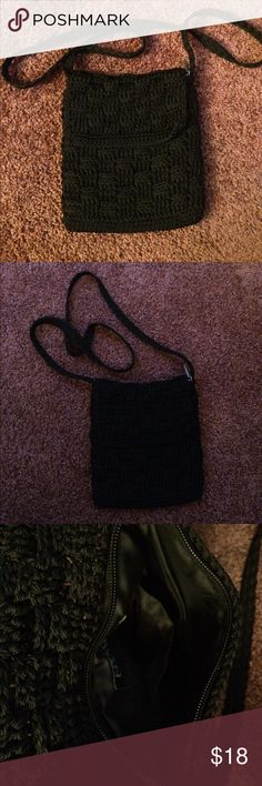 Black cross body bag. Never used. Great condition Black stitched / weaved cross body bag. Never used, great condition. Zippered closure. Make an offer! NY & CO Bags Crossbody Bags