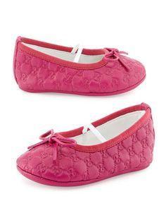 Guccissima Ballerina Flat, Fuchsia by Gucci at Bergdorf Goodman. Gucci Baby, Gucci Kids, Baby Ballerina, Ballerina Flats, Baby Girl Shoes, Girls Shoes, Gucci Flats, Ballet Clothes, Gucci Fashion