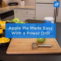 Give apples a spin on the drill, then break out the pie pan for a tasty treat! Fruit Recipes, Apple Recipes, Baby Food Recipes, Homemade Baby Foods, Homemade Pie, Yummy Treats, Yummy Food, Pie Pan, Easy Pie