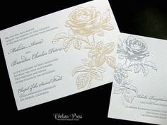 Rose Letterpress PRINTED wedding invitation. Shown by ChelseaPress on Etsy