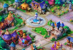 Small town by Ecystudio on DeviantArt Cartoon Design, Cartoon Styles, 2d Rpg, Town Drawing, Isometric Map, Fantasy Art Landscapes, Map Background, Environment Concept, Video Game Art