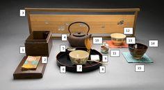 1. Chabako  2. Kobukusa  3. screen (kekkai), 3. Tetsubin 4. Natsume, 5. tray (hanagatabon) 7. chawan, 8. chashaku, 9. chakin, 10. chasen, 11. furidashi (for chabako sweets), 12. chawan, 13. kobukusa, 13. Zeze chawan, 14. kobukusa