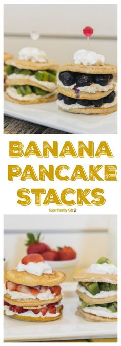 Could You Eat Pizza With Sort Two Diabetic Issues? These Pancake Stacks Make The Perfect Birthday Or Any Day Breakfast Banana Pancakes, Pancakes And Waffles, Pancake Muffins, Healthy Breakfast Recipes, Healthy Recipes, Pancake Recipes, Healthy Food, Great Recipes, Favorite Recipes