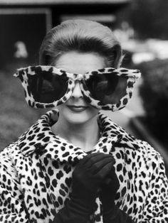Model June Pickney Sporting Leopard Fur Coat and Huge Leopard Fur Rimmed Sunglasses by Stan Wayman. Photographic print from Art.com.