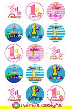 Boy/Girl First birthday bottle cap images Emailed