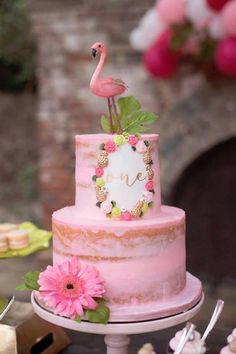 Kara's Party Ideas First Birthday Flamingle Flamingo Pink Flamingo Party, Flamingo Cake, Flamingo Birthday, 16 Cake, Cupcake Cakes, Pink First Birthday, Cake Birthday, 19 Birthday, Birthday Ideas