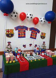 Resultado de imagen para candy bar tematica barça Soccer Birthday Parties, Football Birthday, Birthday Party Decorations, Birthday Ideas, Barcelona Soccer Party, Messi Birthday, Soccer Cake, Mexican Party, Fifa