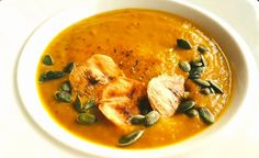 Pumpkin Soup with Moroccan Spices & Plantain Chips.  A great recipe for seasonal soups using warming spices and sweet plantains.