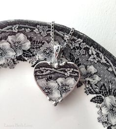 Broken china jewelry antique black and white English transferware heart pendant necklace.