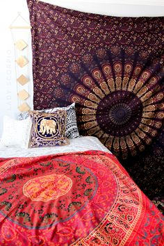 Gypsy Paradise ☽ ✩ Save 25% off all orders with code PINTERESTXO at checkout | Bohemian Bedroom + Home Decor | Mandala Tapestries, Wall Hanging & Twilights Decor by Lady Scorpio | Purple & Red tapestry & Gold Diamond Shop Now LadyScorpio101.com | @LadyScorpio101 | Photography by Luna Blue @Luna8lue
