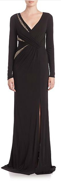 David Meister Long Sleeve Beaded Insert Jersey Gown