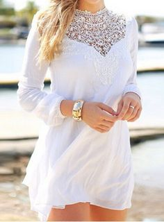 Simple Round Collar Long Sleeve See-Through Solid Color Women's DressLong Sleeve Dresses | RoseGal.com