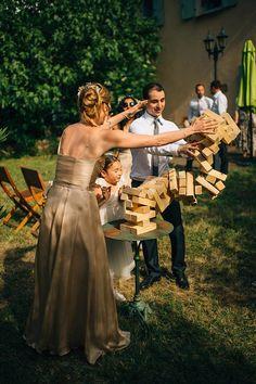 Marianne and Luke's Fun Countryside Wedding. Giant Jenga Game. Photos by Nordic Photography. Read more...@intimateweddings,com #receptionideas #realweddings