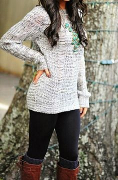 Winter Fashion 2015 Sweater Leggings and High Boots with socks coming out real Street Style a similar necklace you can buy on www.simply-glamorous.nl