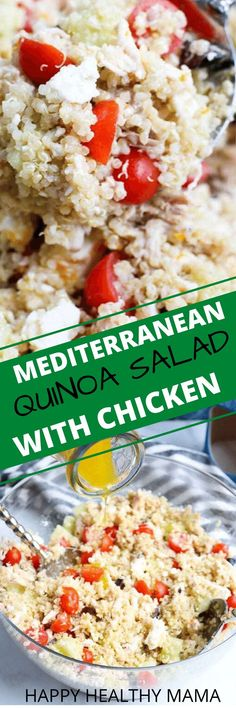 The BEST every Mediterranean Quinoa Salad with Chicken recipe! Everyone just loved this and asked for the recipe! So great for lunch dinner and meal prep. This is a healthy gluten free recipe. Clean Dinner Recipes, Clean Eating Dinner, Clean Eating Recipes, Healthy Eating, Lunch Recipes, Healthy Food, Easy No Bake Desserts, Low Carb Desserts, Dessert Recipes