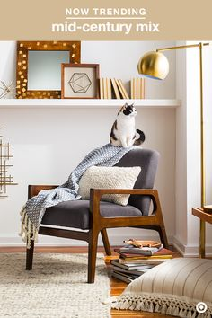 Take on a room refresh with mid-century flair in a mix of warm woods, metallic accents and neutral hues. A simple upholstered chair creates a focal point, layered with a pillow and throw in soft, subtle colors and patterns. Complete the classic-meets-modern vibe with playful geometric elements and metals, like a brass floor lamp, and you've got yourself the purrfect spot for an afternoon nap.