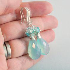Aqua Bridal Earrings Chalcedony Blue Topaz Aquamarine by livbridal