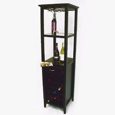 """$204.79-$327.14 Galina Wine Tower - Holds 18 Bottles (Matte Black) (66""""H x 17""""W x 17""""D) - Impress your guests with a well stocked wine bar! This wine tower holds 18 bottles of your favorite wines and 9 wine glasses on a built-in stemware rack. With a drawer for towels, corkscrews and other accessories, and two shelves for additional bar items and mixers, this wine rack has everything you need to ..."""