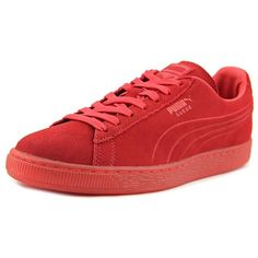 Puma Puma Suede Emboss Iced Men Round Toe Suede Red Sneakers... ($74) ❤ liked on Polyvore featuring men's fashion, men's shoes, men's sneakers, red, shoes, mens red sneakers, puma mens shoes, mens suede sneakers, puma mens sneakers and mens suede shoes