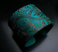 Handmade polymer clay cuff bracelet by adrianaallenllc on Etsy