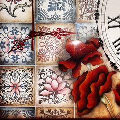 """Relógio temático de parede coleção """"Azuleijo"""" de Quadrado em madeira."""