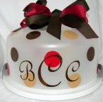 Cute Housewarming Gift: Personalize a plain cake carrier with initials - be sure to include a luscious cake, too!