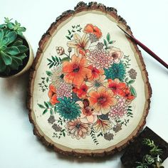 One of a kind hand painted wood slice. Each wood slice is completely original and unique, inspired by different botanical elements and flowers. Watercolor On Wood, Floral Watercolor, Painting On Wood, Gouache Painting, Forest Painting, Painting Flowers, Wood Crafts, Diy And Crafts, Arts And Crafts