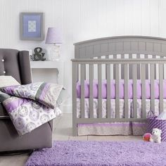 Make matching easy with the Crib Bedding Set Trend Lab Lilac. This 3-piece crib bedding set comes with a crib sheet, comforter, and bed skirt – all in a modern lilac theme. The coordinating pieces are lilac, grey and white. The crib sheet is fitted – to fit your standard size crib mattress. Pulling together a nursery has never been so easy.