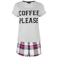 TopShop Coffee Please Pyjama Set ($31) ❤ liked on Polyvore featuring intimates, sleepwear, pajamas, cotton sleepwear, topshop, cotton pjs, cotton pajamas and cotton pajama set