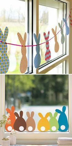 Bunny garland for easter window decor classroom window decorations, easter bunny decorations, easter garland Diy Simple, Easy Diy, Simple Crafts, Cute Diy, Easter Table Decorations, Classroom Window Decorations, Home Decoration, Classroom Door, Holiday Decorations