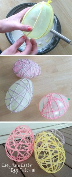 Yarn Easter Egg Tutorial   Easter Crafts Add a piece of chocolate to inside of balloon for a cute treat!