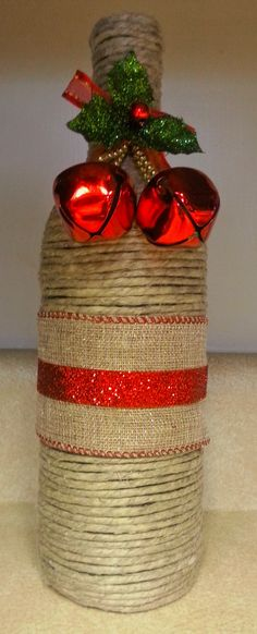 Holiday Inspired Wine Bottle - Wrapped in Natural Polished Hemp Twine, Ribbon…