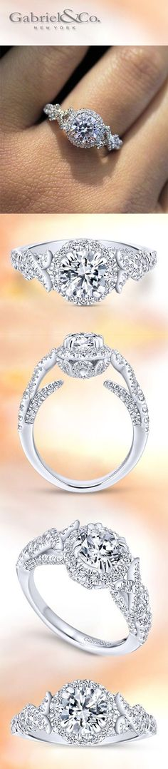 Gabriel NY - Preferred Fine Jewelry and Bridal Brand. Stunning 14k White Gold Round Halo Engagement Ring with pave Diamonds dazzling on the sides. A infinity band intertwines and leads to the center stone. Find your nearest retailer-> https://www.gabrielny.com/storelocator