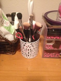 Perfect makeup brush holder. Find it at the container store