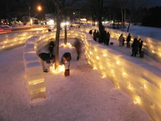 A collaborative project with fellow Artist Scott Fuller, the Community Spiral was created for the 2008 Saranac Lake Winter Carnival. The Structure was a 5 foot high labyrinth of 350 ice blocks, which was twice illuminated with tea candles.