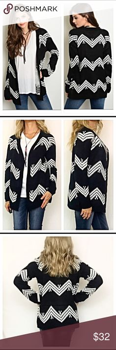"Chevron knit cardigan sweater S M L Black & White Really love this chevron cozy cardigan in black & white. Slip into comfort & style this season with this open front knit sweater. 100% acrylic. Also available in black & taupe in a separate listing   Small 2/4 Bust 40"" Length 26"" Medium 6/8 Bust 41"" Length 27"" Large 10/12  Bust 42"" Length 28"" Sweaters Cardigans"
