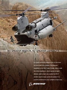 Air Force HH-47 CSAR concept poster. The Chinook is so powerful that even if both engines fail it could fly for a week before landing.