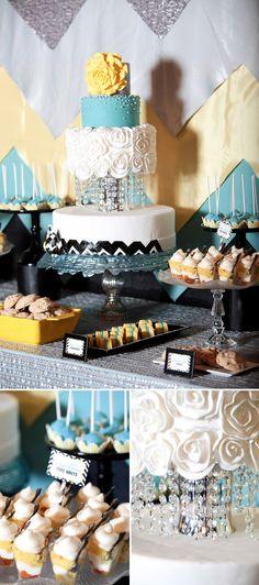 Turquosie_Mad_Men_Wedding_Inspiration dessert table