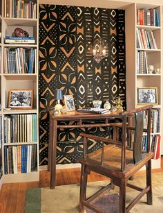 Details: Mud cloth becomes a focal point in John Loring's library
