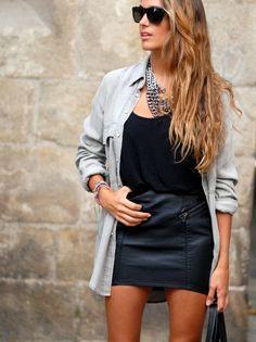 Grunge chic! denim shirt over statement necklace + leather skirt : stellawantstodie.com