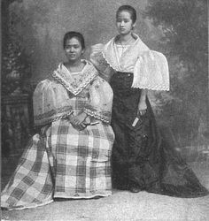 """Caption: """"Two Beautiful Tagalog Sisters"""" The Spanish garb makes their arms look short. Philippines Fashion, Philippines Culture, Philippines People, Manila Philippines, Cultura Filipina, Baro't Saya, Filipino Wedding, Filipiniana Dress, Filipino Fashion"""