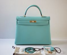 03596ca613 Hermes  Authentic Hermes Kelly 35cm Blue Atoll Togo Gold Hardware