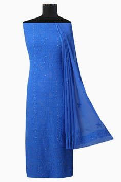 #Ada #handembroidered Persian Blue #Georgette #Lucknowi #Chikan Unstitched Kurta Dupatta Set - A571924
