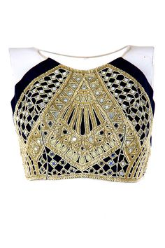 Black and gold raglan mirror crop choli available only at Pernia's Pop-Up Shop.