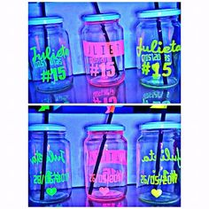 frascos vasos tragos frases fiesta chops personalizados fluo Neon Birthday, Birthday Party For Teens, 14th Birthday, Neon Party, Disco Party, Glow Party Food, Glow In Dark Party, 2000s Party, Lounge Lighting