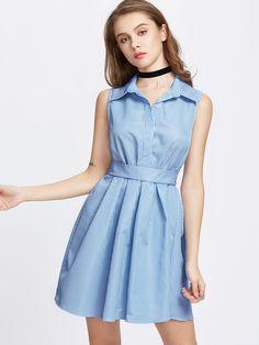 Vestido estilo blusa de rayas verticales de espalda con lazo-Spanish SheIn(Sheinside)