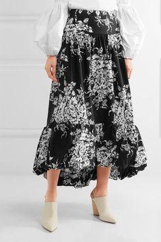 Sonia Rykiel - Tiered Floral-print Cotton Midi Skirt - Black - FR42