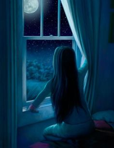 Through the window she watched the moon rise and fall. And she never got tired